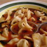 Sulu manti (Armenian/Turkish beef dumplings in tomato broth)