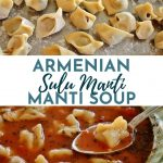 a bowl of manti (Armenian dumplings) in a tomato broth with a spoon lifting one out