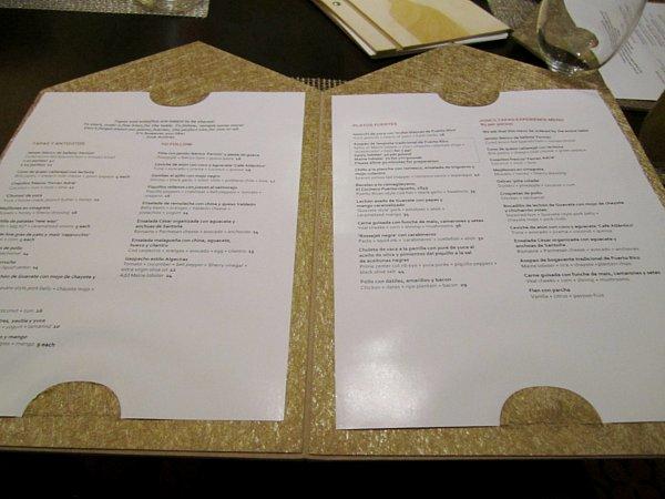 an open restaurant menu on a table