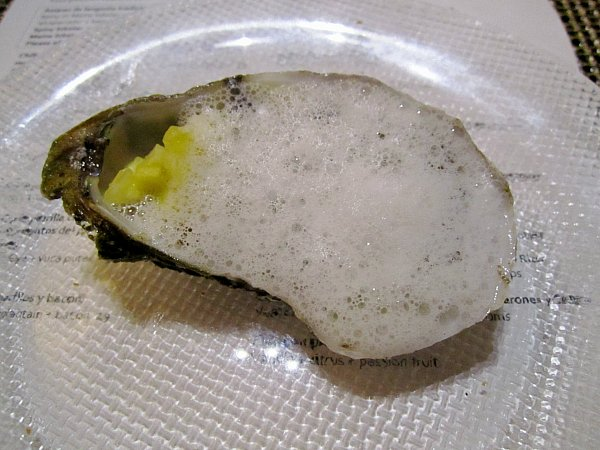 closeup of an oyster on the half shell topped with white foam
