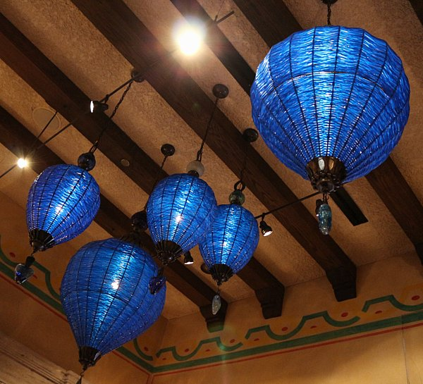 blue lights hanging from a ceiling