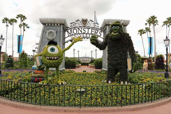 a topiary of Mike and Sully from Monster\'s Inc