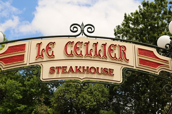 A sign that says Le Cellier Steakhouse
