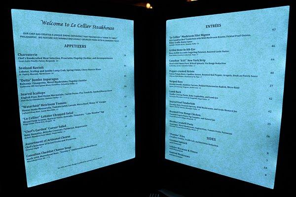 A lit up restaurant menu