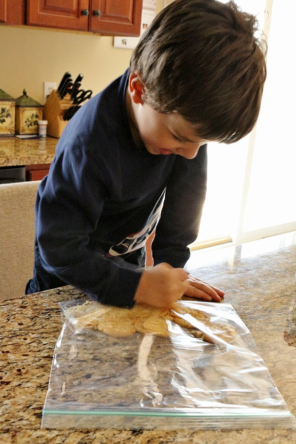 a boy crushing crackers in a plastic bag on the counter
