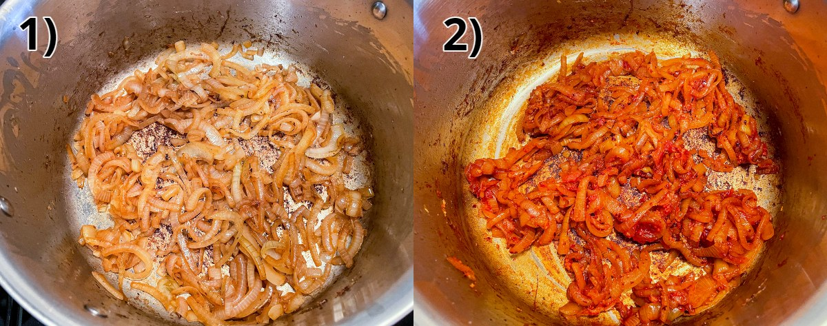Cooking sliced onions in a pot and then added tomato paste and spices.
