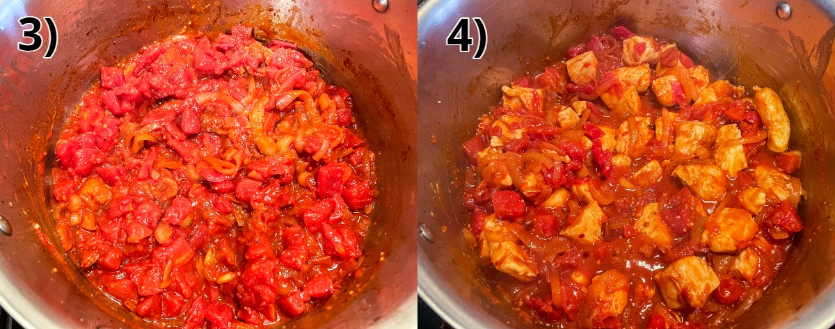 Adding diced tomatoes and then cubed chicken to a pot.