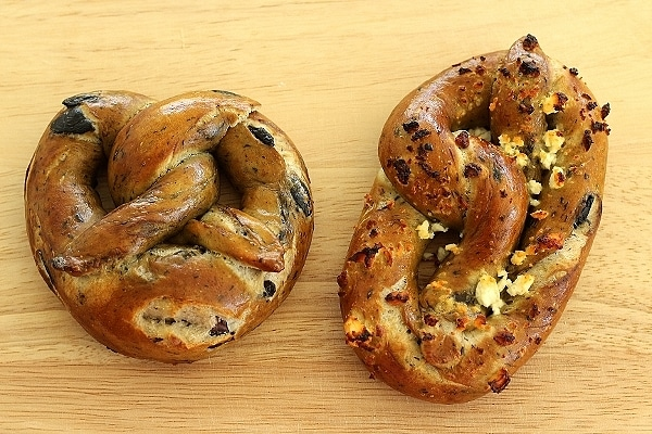 Two different shapes for soft pretzels, German and Philadelphia style