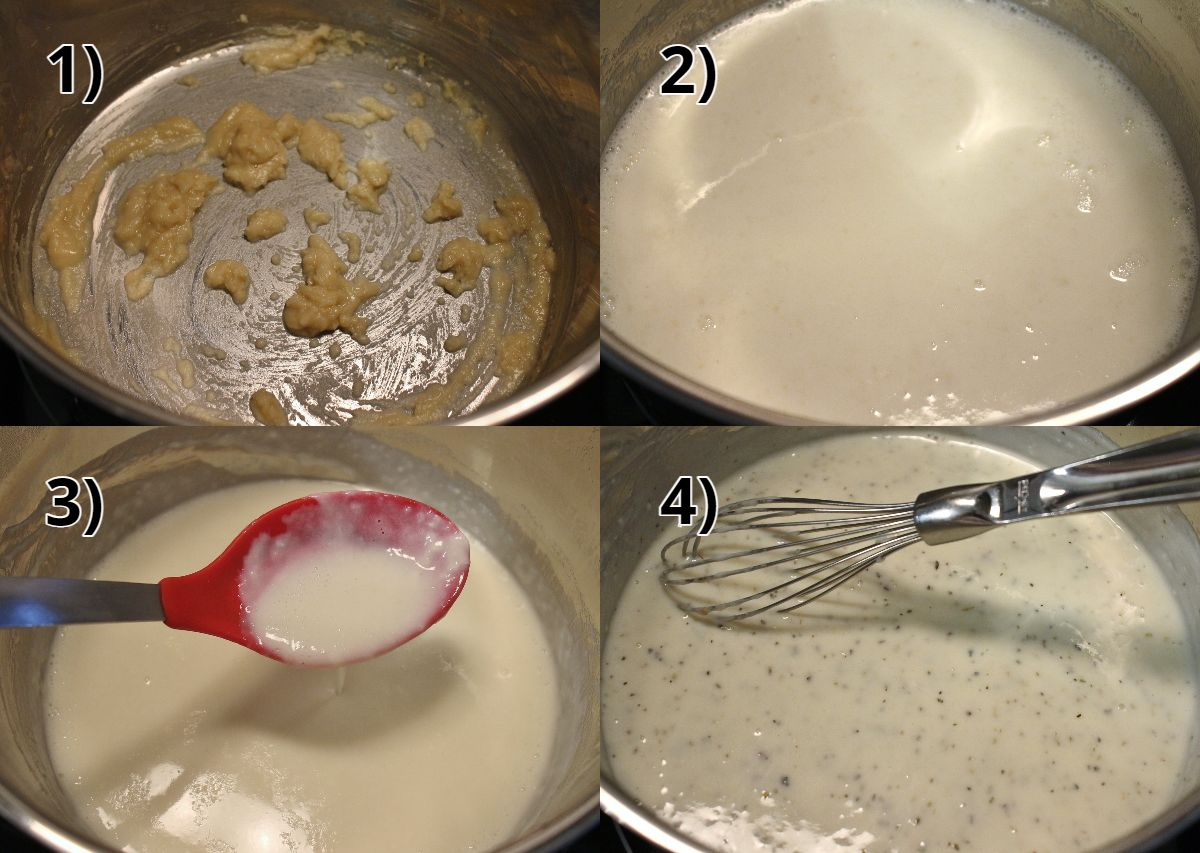 Step-by-step photos of making a roux and adding milk to make white sauce.