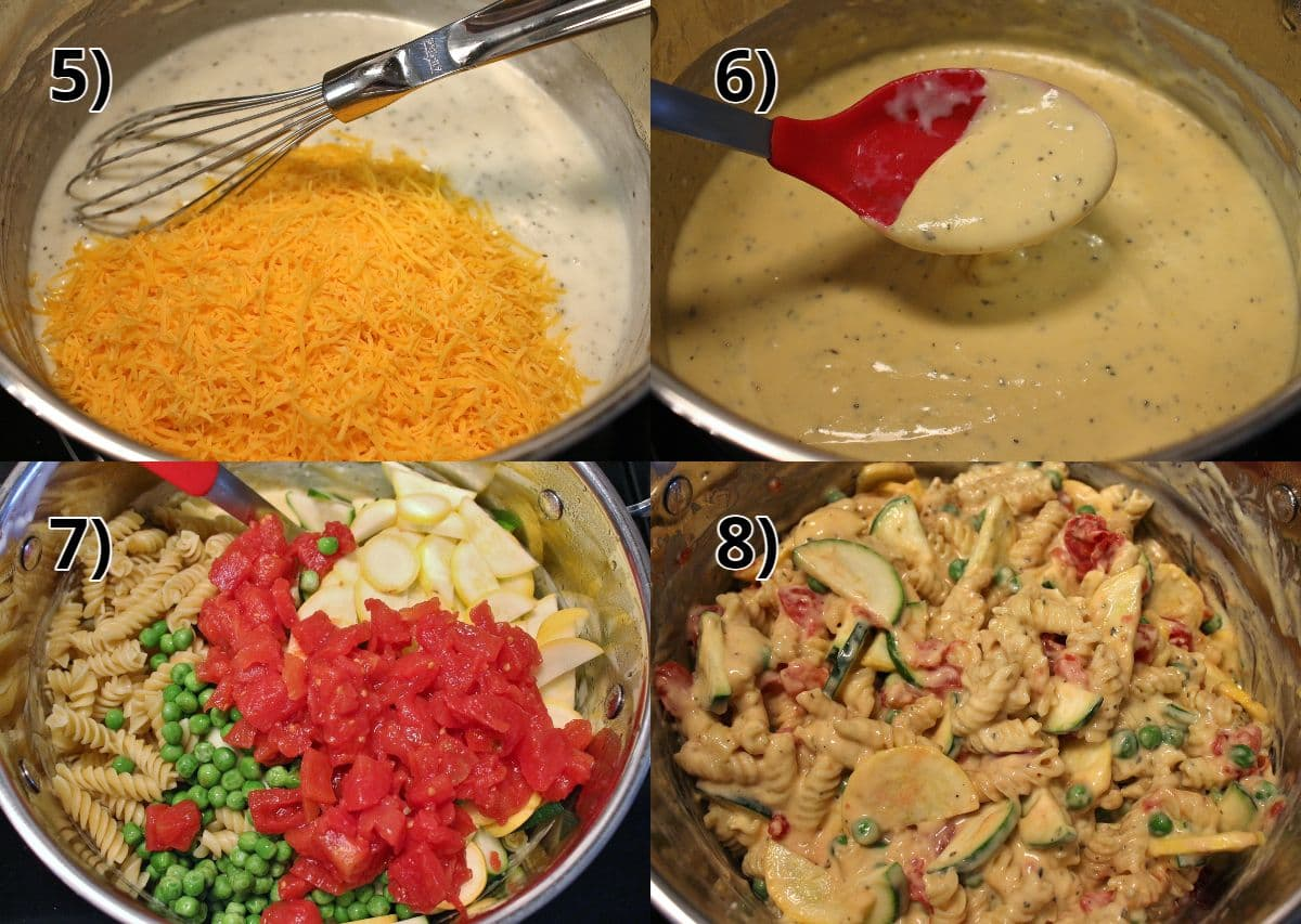 Step-by-step photos of adding cheese and veggies to white sauce for mac and cheese.
