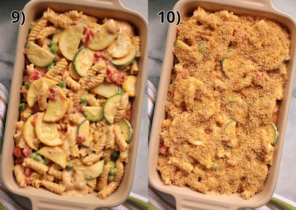 Veggie mac and cheese in a ceramic casserole before and after adding breadcrumbs on top.