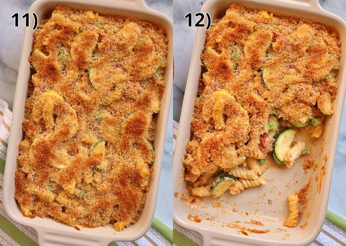 A baked rectangular casserole of macaroni and cheese before and after scooping some out.