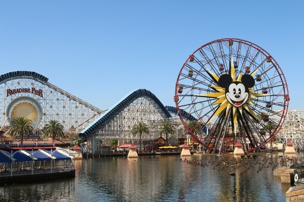 a Ferris wheel ride with Mickey Mouse on it and a roller coaster