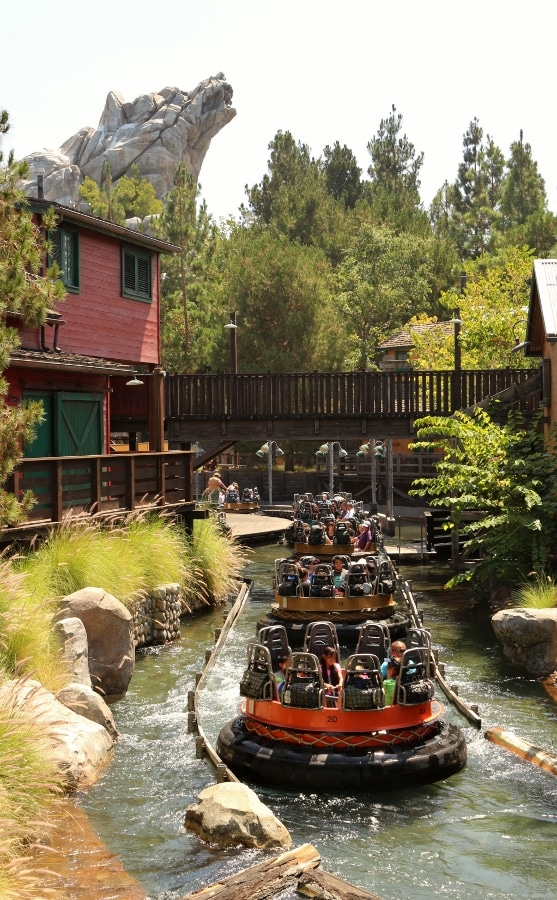 a row of round rafts floating down a river in a roaring rapids type ride