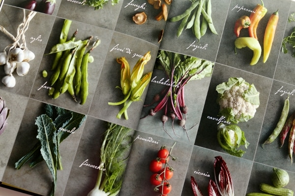 a collage of vegetable photos with a gray background