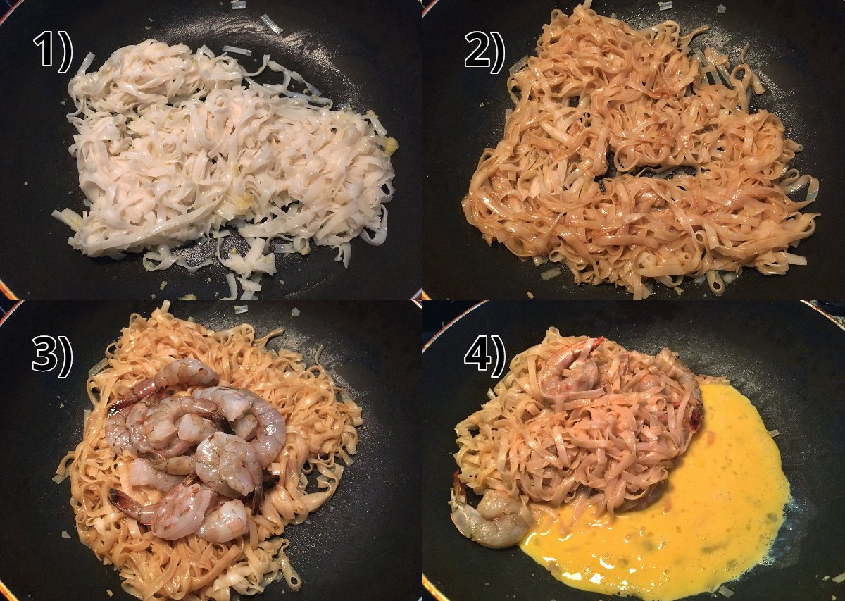 step-by-step photos of how to make shrimp pad thai in a wok