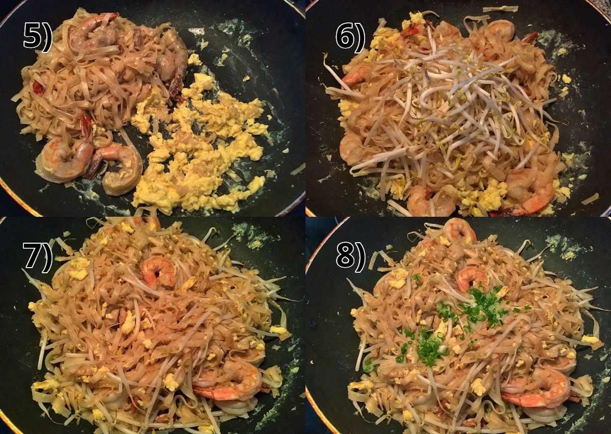 additional step-by-step photos of how to make shrimp pad thai in a wok