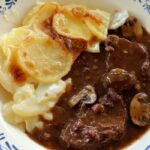 beef bourguignon with baguette dumplings and potato gratin dauphinois