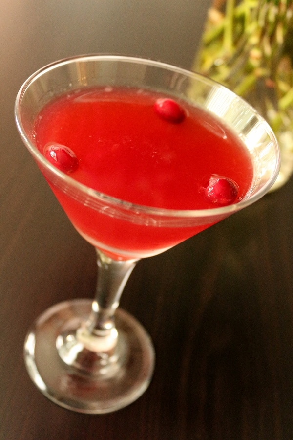 a cocktail glass filled with red cranberry daiquiri and three floating cranberries