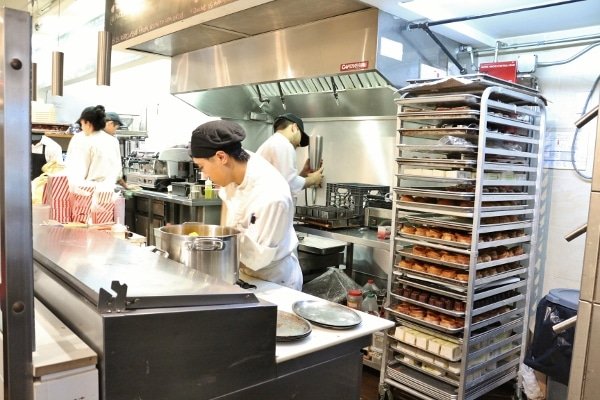 people preparing food in a professional kitchen