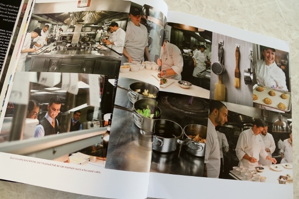 a collage of photos of people in a professional restaurant kitchen