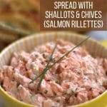 salmon rillettes garnished with chives in yellow bowl