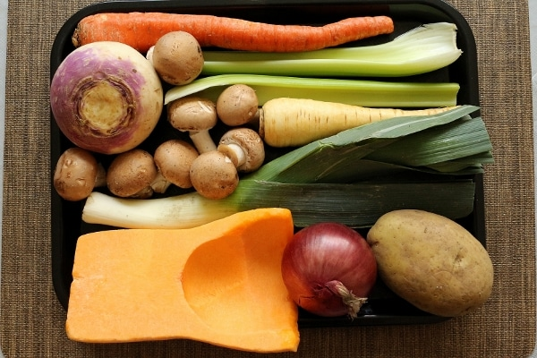 Ingredients for autumn vegetable soup