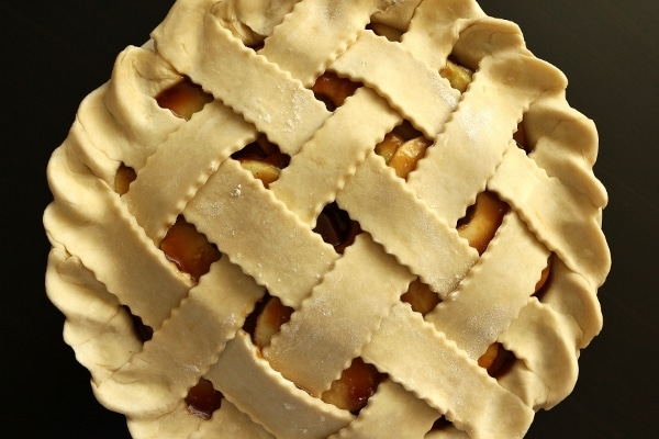 overhead view of an unbaked lattice topped pie