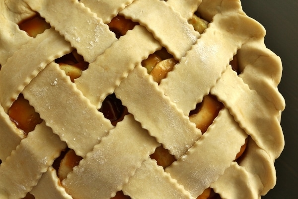 closeup overhead view of an unbaked lattice topped pie