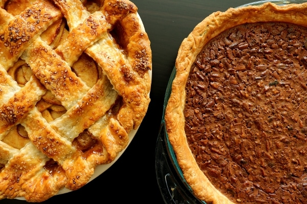 Salted caramel apple pie and malted chocolate pecan pie