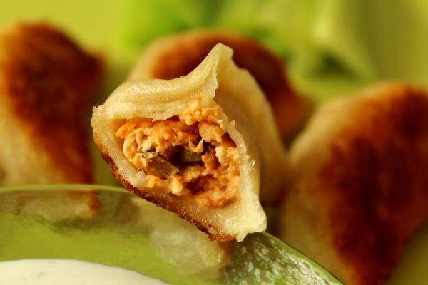 A closeup of a half-eaten buffalo chicken dumpling