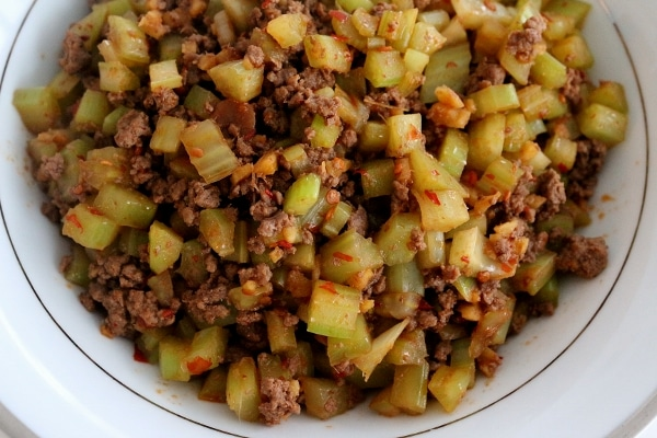 overhead view of a white bowl of stir-fried celery and ground beef