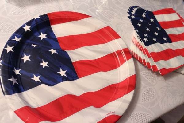 American flag paper plates and napkins on a table