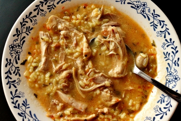 Spanish soupy rice with chicken