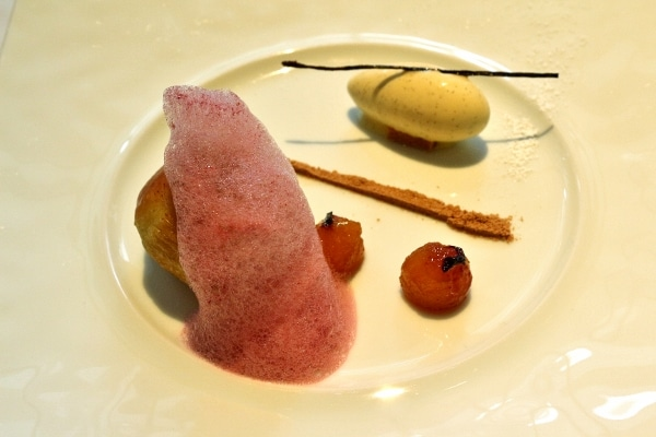 an artfully plated dessert with a dark pink foam covering some of the food