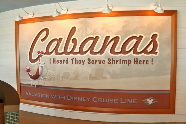 A close up of a sign that says Cabanas