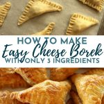 Cheese borek puff pastry triangles before and after baking