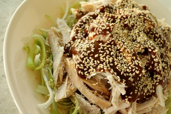 a closeup of a shredded chicken topped with brown sauce and sesame seeds