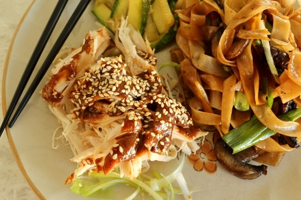 a scoop of shredded chicken with brown sauce next to stir-fried noodles on a plate