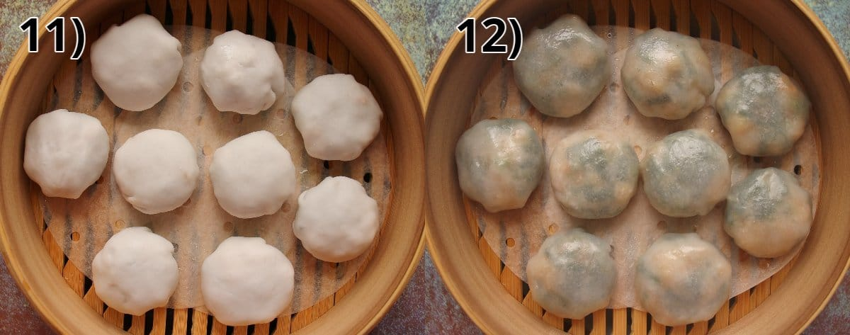 Chive dumplings in a bamboo steamer basket before and after steaming.