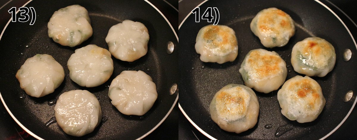 Shrimp and chive dumplings cooking in a skillet before and after flipping.