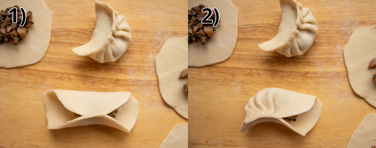 Step-by-step photos of pleating a mushroom dumpling on a wooden surface.
