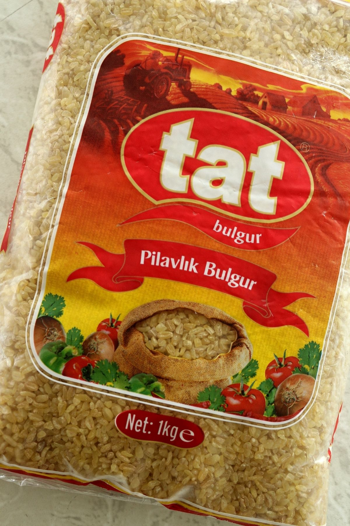 a package of coarse bulgur for making pilaf