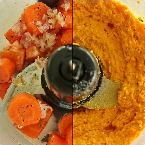 side by side before and after view of carrot ravioli filling in a food processor bowl