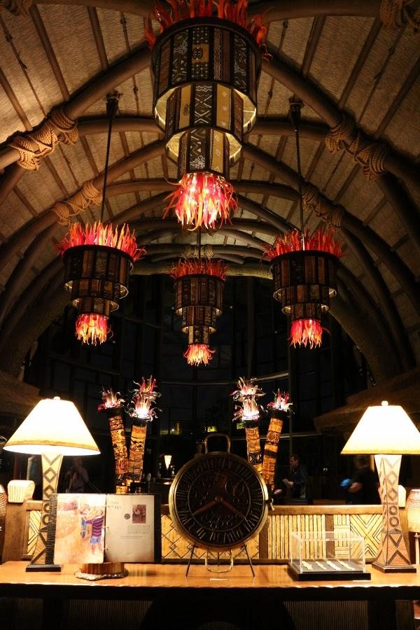 the lobby of Disney\'s Animal Kingdom Villas Kidani Village at night