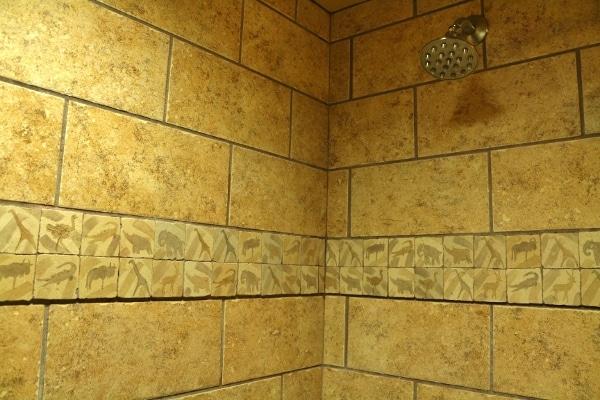 A closeup of animal tiles inside a shower
