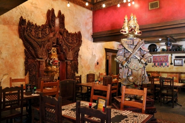 interior of Yak and Yeti restaurant with southeast Asian decorations
