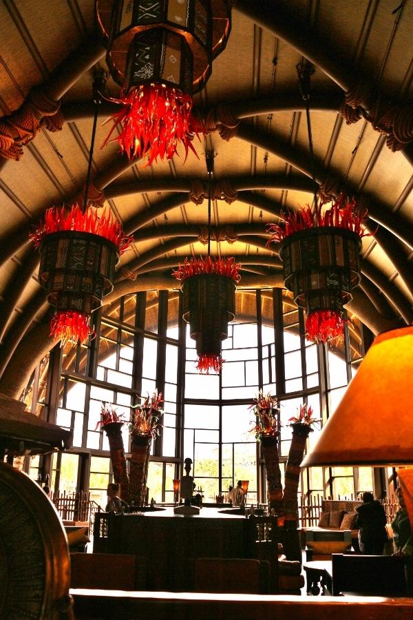 the lobby of Disney\'s Animal Kingdom Villas Kidani Village during the day