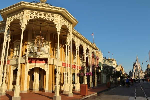 view of a mostly empty Main Street USA in the Magic Kingdom