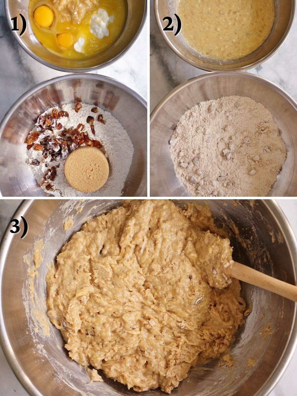 Step by step photos of mixing banana bread batter in metal bowls.